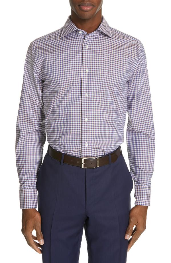 2000b0e2897 Canali Regular Fit Check Dress Shirt In Brown