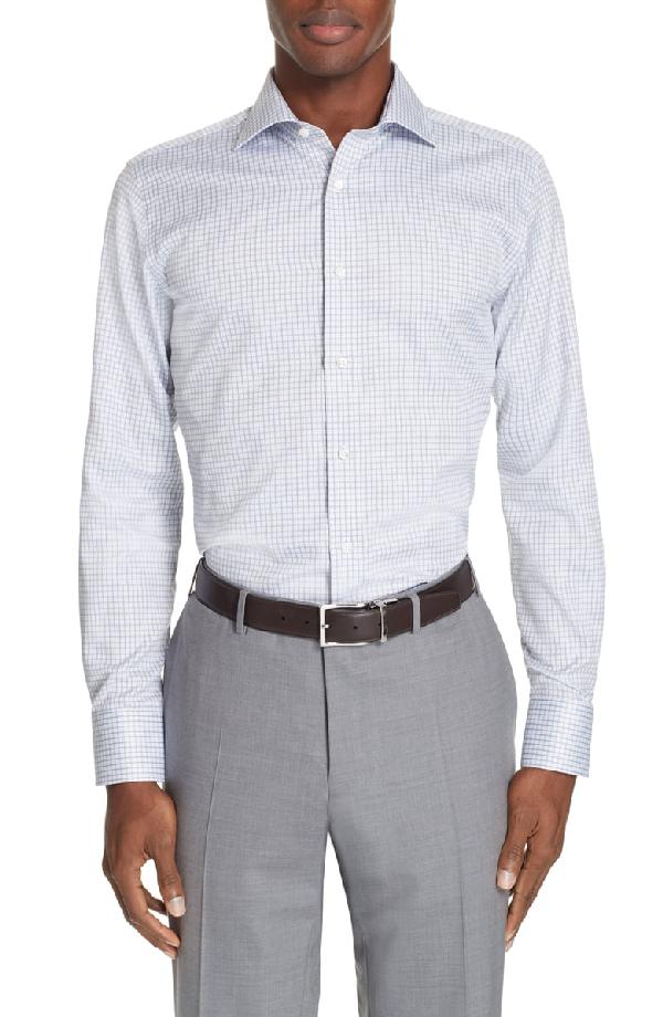 9018688e2d2 Canali Regular Fit Check Dress Shirt In Light Blue