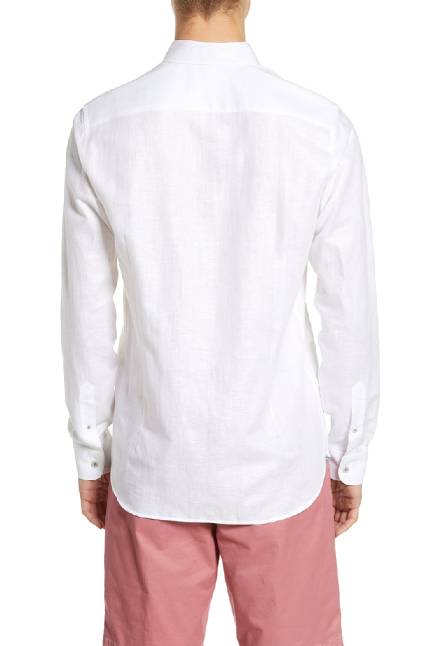 Ted Baker Emuu Slim Fit Linen Shirt In White