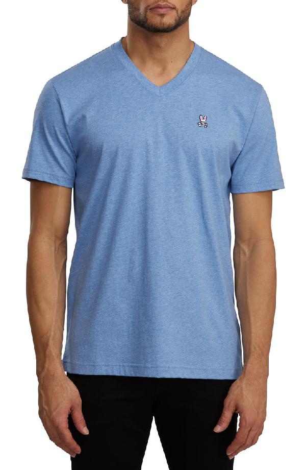 c6fadd911 Psycho Bunny Classic V-Neck Slim Fit T-Shirt In Heather Bahamas ...