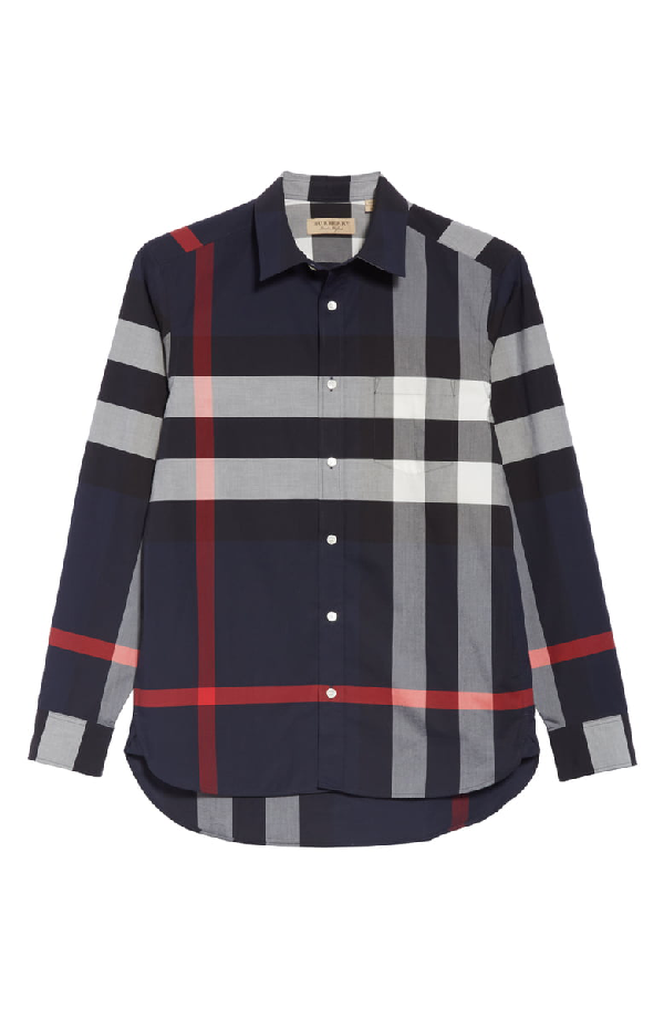 30606ec78 Burberry Windsor Check-Pattern Classic Fit Shirt In Blue | ModeSens