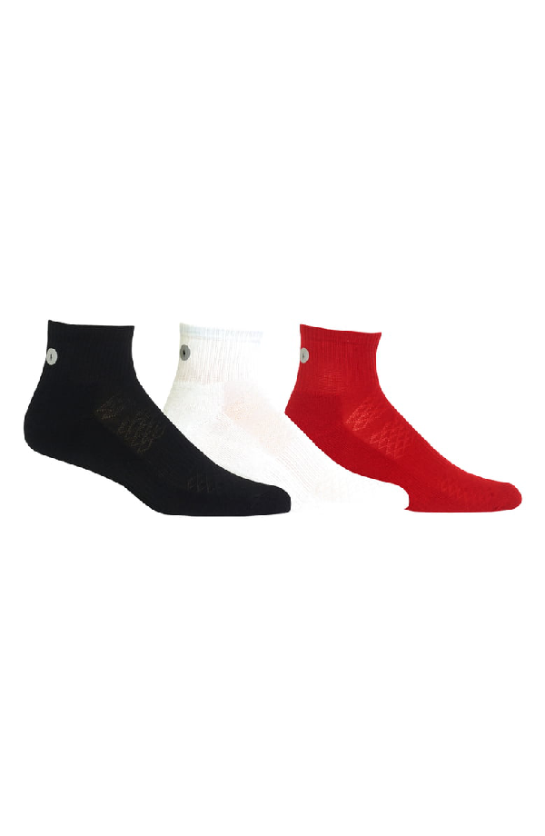 b82d8631ab Men's Athletic Reflector Quarter Socks, 3-Pk. in Black Assorted
