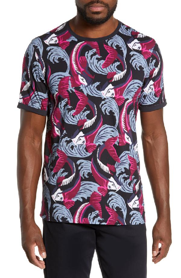 Ted Baker Brelto Slim Fish Swim T-Shirt In Navy