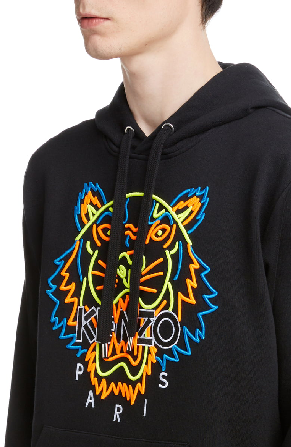 e6678bf7f Kenzo Neon Tiger Embroidered Hoodie In Black | ModeSens