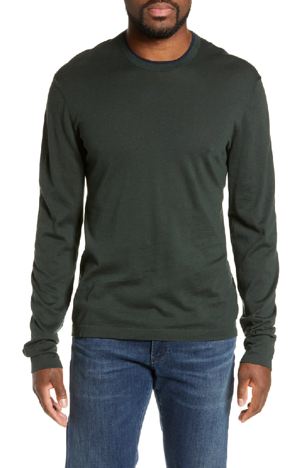 676ef0bc7 James Perse Slim Fit Cotton Crewneck Sweater In Seaweed  French Navy ...