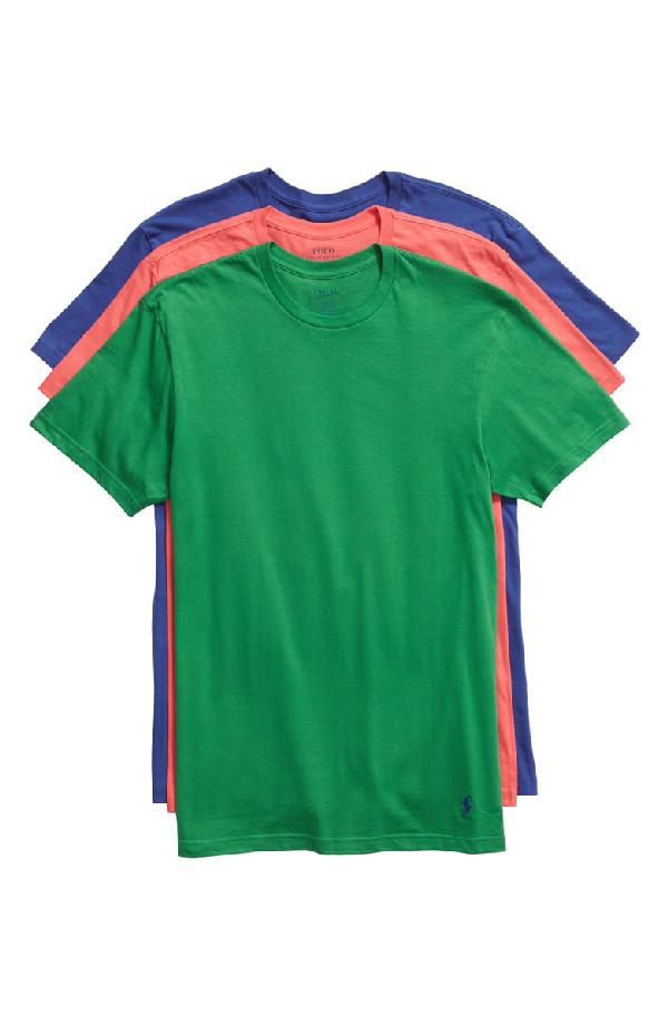 dbf196da1 Polo Ralph Lauren 3-Pack Crewneck T-Shirts In Bright Navy/ Green ...
