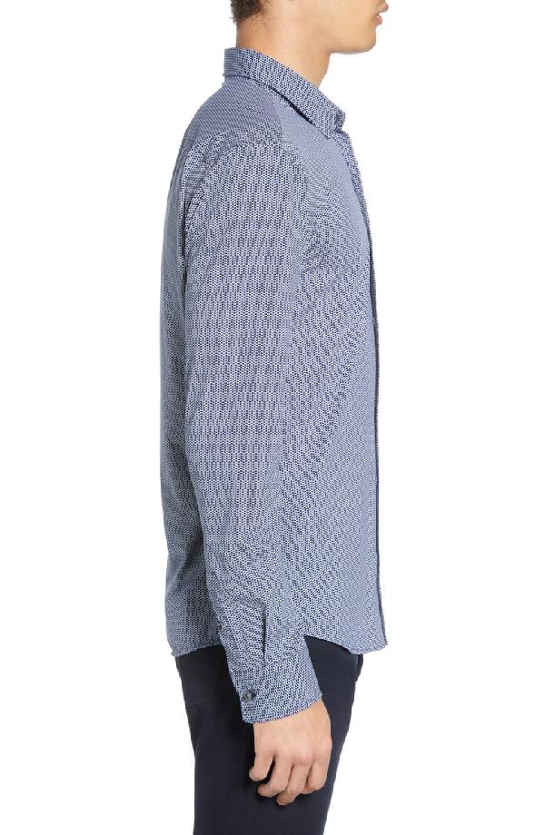 ad649242 Boss Ronni Slim Fit Micro Print Performance Sport Shirt In Dark Blue ...