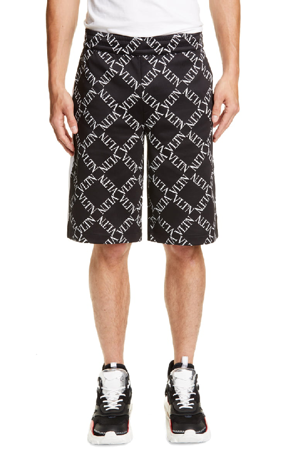 127b524123 Valentino Vltn Grid Print Shorts In Black White | ModeSens