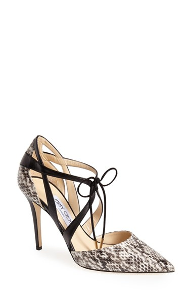 0bb56b3d1be4 Jimmy Choo Lapris Natural Gloss Elaphe And Black Kid Leather Pointy Toe  Pumps