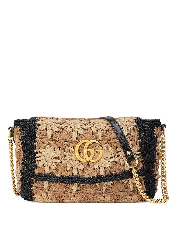 3fd8fdbda602e Gucci Gg Marmont Raffia Small Shoulder Bag In Brown