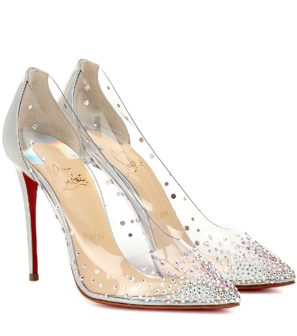 promo code 250c6 03ab9 Degrastrass 100 Embellished Pvc And Leather Pumps in Silver