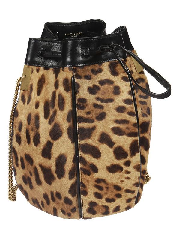 a6f7721fe783 Saint Laurent Talitha Leopard-Print Fur Medium Bucket Bag In Brown ...