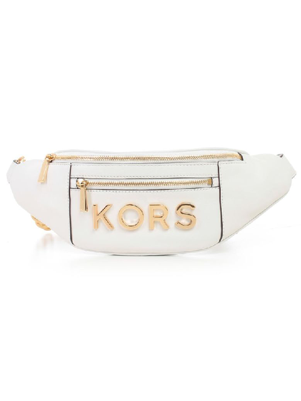 2bf9b11cf832 Michael Michael Kors Logo Embellished Belt Bag In Optic White | ModeSens