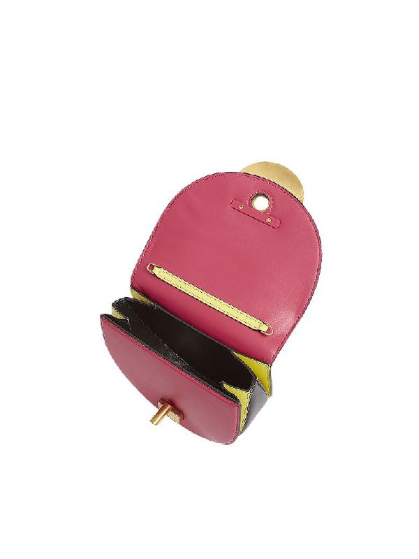 Marni Misty Rose, Black And Acid Leather Monile Crossbody Bag In Fuchsia