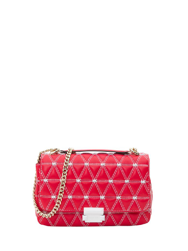 2cd816934 Michael Michael Kors Sloan Large Quilted Leather Shoulder Bag In Red ...