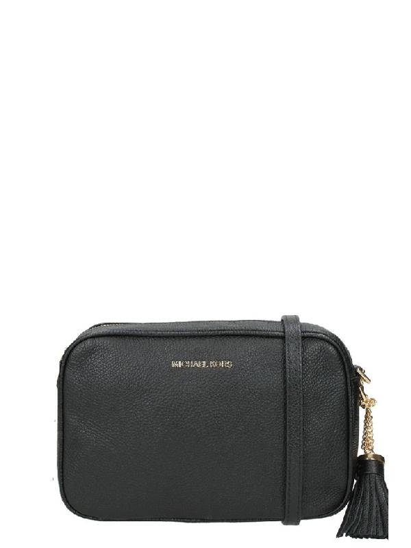 7c5a162aaa7c Michael Kors Ginny Leather Crossbody In Black | ModeSens