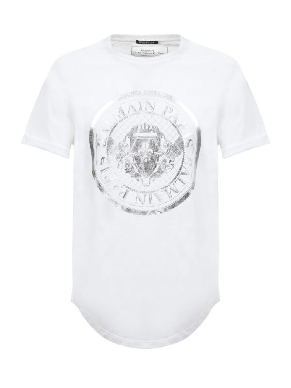 a93092569 Balmain Hooded T-Shirt In Bianco Argento | ModeSens