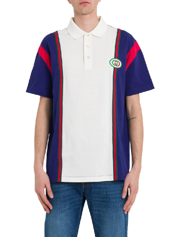 dec9c20b303 Gucci Men s Vintage Colorblock Polo Shirt With Logo Patch In Blue ...