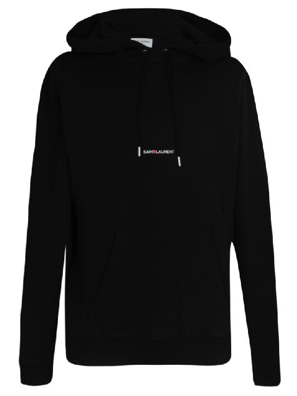 011d4847bd9 Saint Laurent Logo-Print Loopback Cotton-Jersey Hoodie - Black ...
