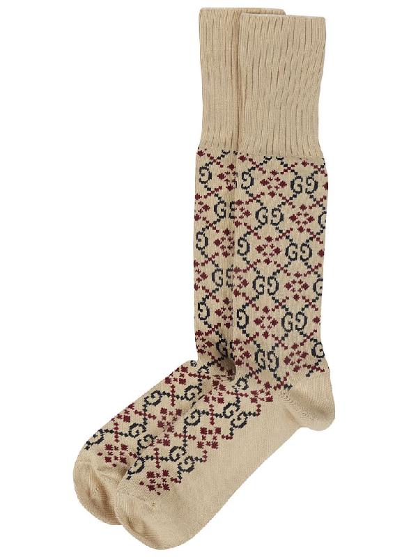 Gucci Gg Diamond Intarsia Cotton-Blend Socks In Neutrals