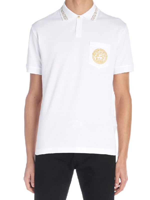 81b8f4fa Versace Embroidered Medusa Polo Shirt In A93A White | ModeSens