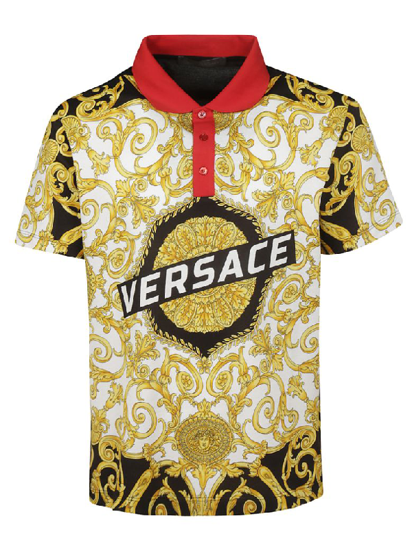 13dfdc21 Versace Men's Short Sleeve T-Shirt Polo Collar Hibiscus In Black ...
