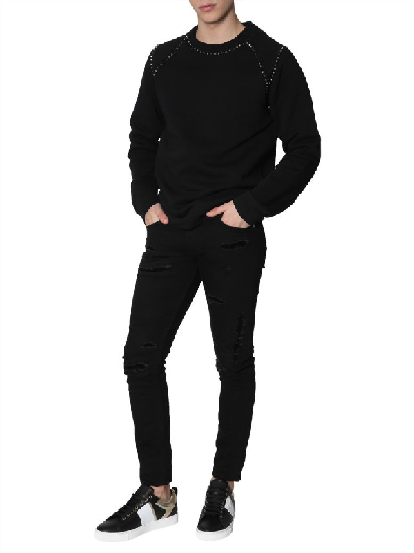 Versace Crew Neck Sweatshirt In Black
