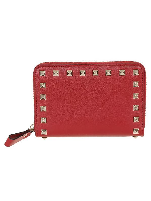 831cb98bf35 Valentino Medium Rockstud Zip Around Wallet In 0Ro Rosso | ModeSens