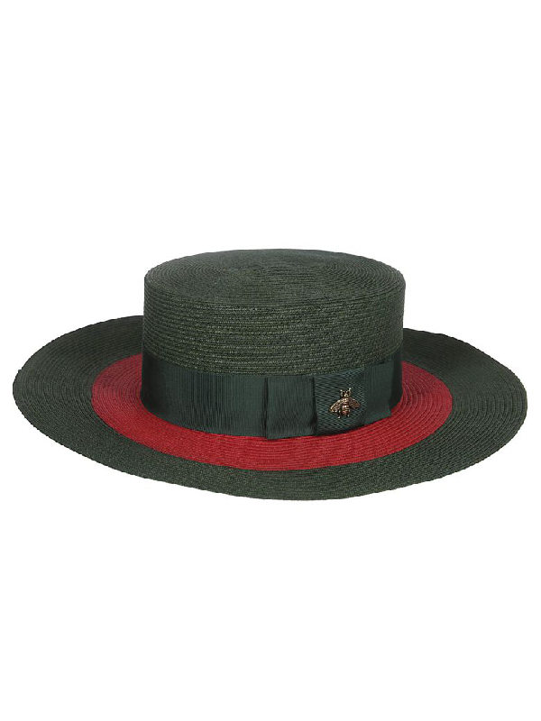 4293f598c6977 Gucci Embellished Grosgrain-Trimmed Straw Hat In Green