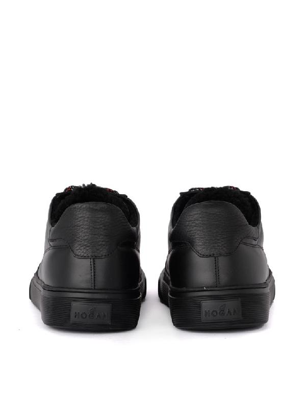Hogan H365 Black Leather And Sheepskin Sneaker In Nero   ModeSens