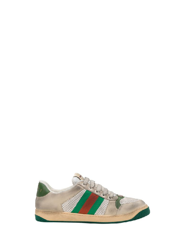 6384e5b5bc3 Gucci Virtus Distressed Leather And Webbing Sneakers - Off-White In Neutrals