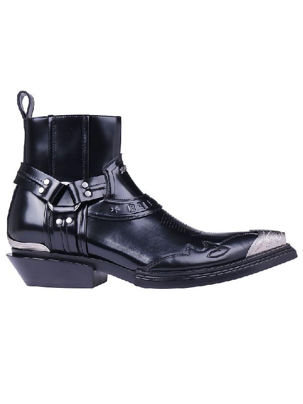6477563c3136f Balenciaga 40Mm Santiago Leather Western Boots In 1000 Black