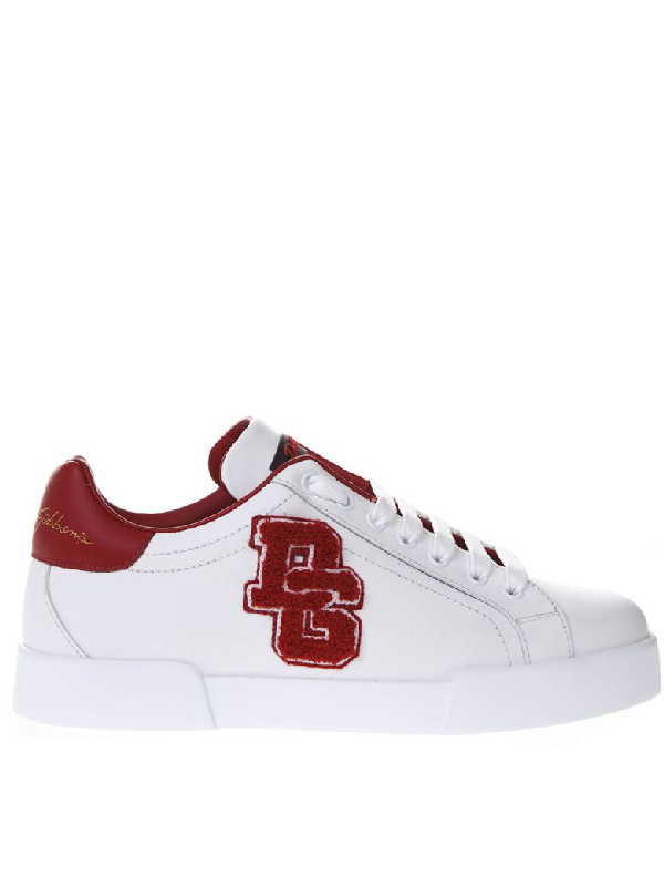 e4771484d8 Dolce & Gabbana Red And White Portofino Sneakers In Leather | ModeSens