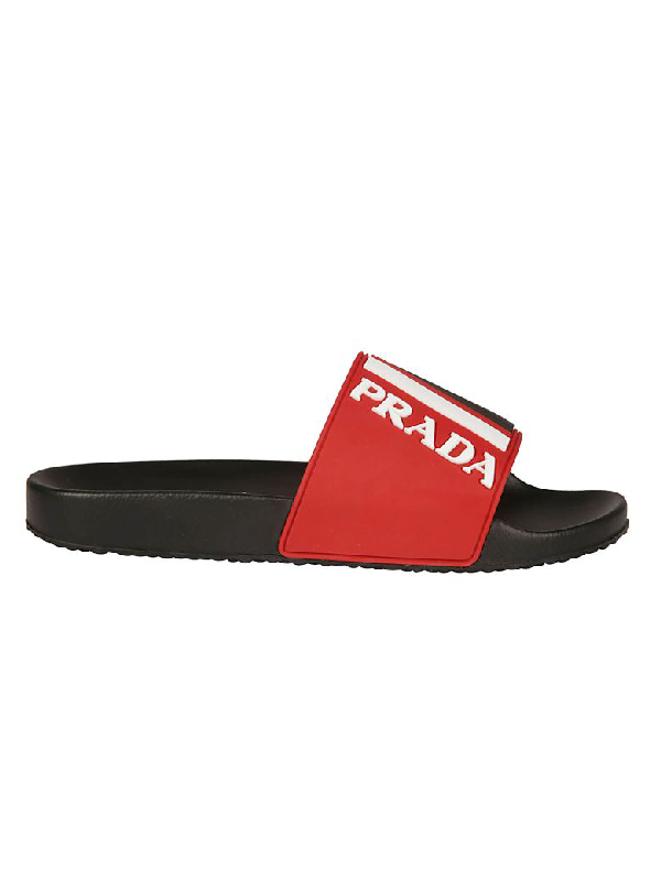 06c25d85853d Prada Men s Logo Rubber Slide Sandals In Red