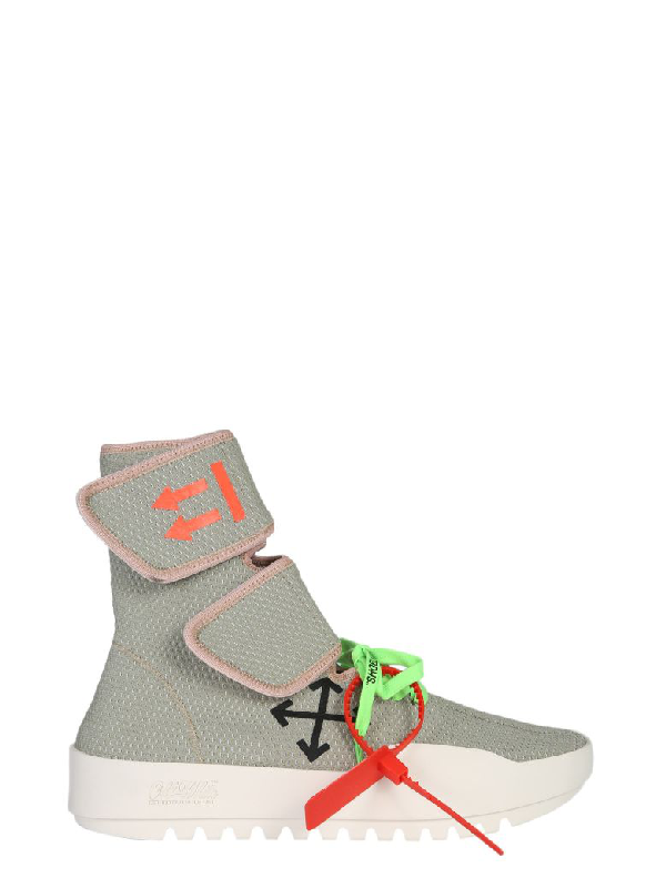 Off-White Men's Moto Wrap High-Top Knit Sneakers In Grey