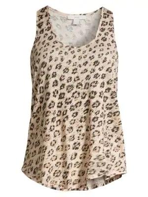 Joie Colman Leopard Print Linen Tank In Cappuccino