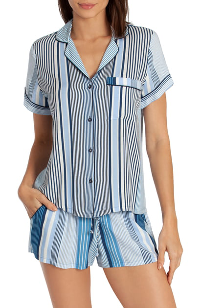 815eb47247d In Bloom By Jonquil Satin Short Pajamas In Variegated Stripe Print-Blue