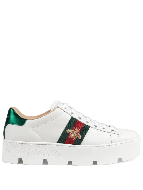 a5694ba0f5bc Gucci Ace Embroidered Platform Sneakers In White | ModeSens