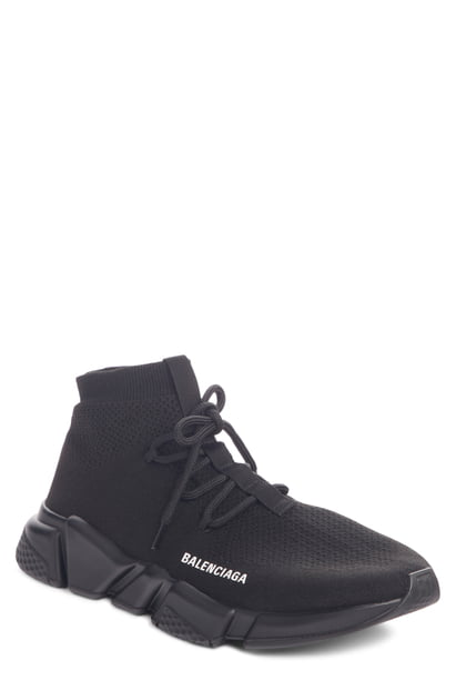 Balenciaga Speed Knit Lace-Up Mid-Top Trainers In 1000 Black