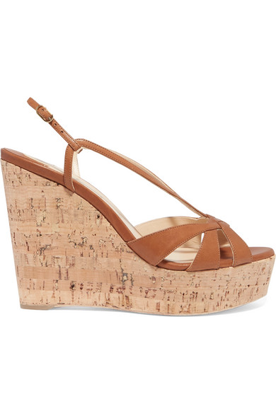 In Wedgy Leather Wedge Sandals Louboutin Lady Tan Christian 120 tdChQxsr