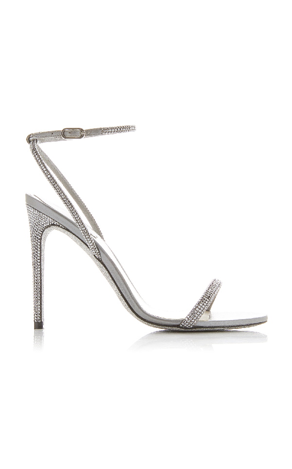 1da03bc6a RenÉ Caovilla Crystal Embellished Strappy Satin Stiletto Sandals In Silver