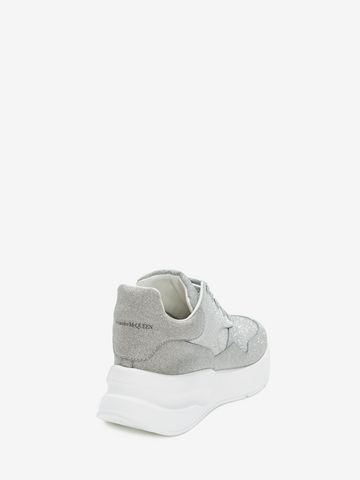 Alexander Mcqueen Runner Glitter-Embellished Leather Trainers In Silver