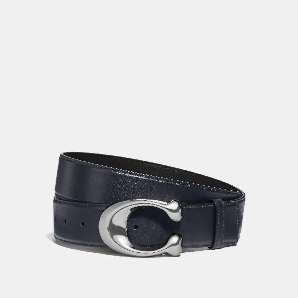 22947137c4 Coach Signature Cut-To-Size Belt in Midnight/Black