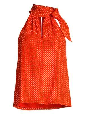 Joie Dalman Tie Neck Silk Tank In Warm Terracotta