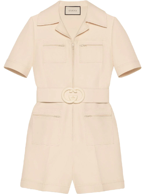 534227db323 Gucci Short Belted Wool & Silk Cady Jumpsuit In Neutrals   ModeSens