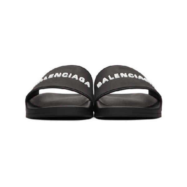 Balenciaga 'Piscine' Logo Print Lambskin Leather Slide Sandals In 1006