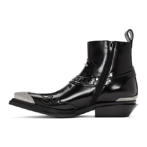 Balenciaga 'Jive' Logo Embossed Metallic Toe Cap Leather Boots In Black