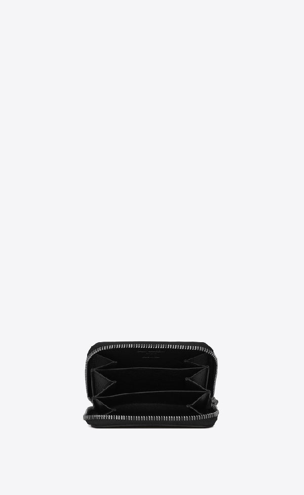 2849604a3e Coin Purse With Card Holder In Shiny Star-Print Leather in Black
