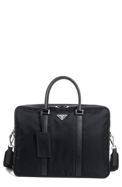 8fa7ce7992e7 Prada Nylon Briefcase With Saffiano Leather Trim - Black In Nero ...