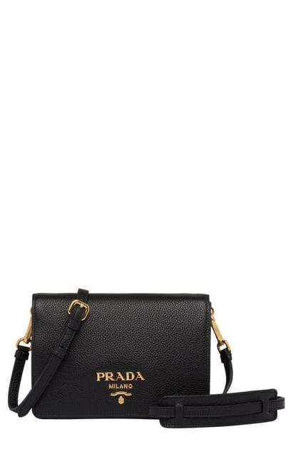 4b1134f4afa4 Prada Vitello Daino Double Compartment Leather Shoulder Bag - Black In Nero